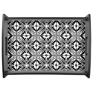 Moroccan tile - black with white background serving tray