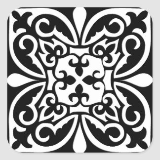 Moroccan tile - black with white background square sticker