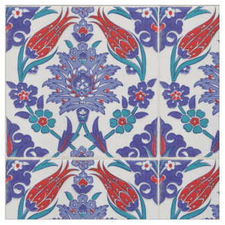 Moroccan Tile Boho Blue Pattern Cotton Fabric