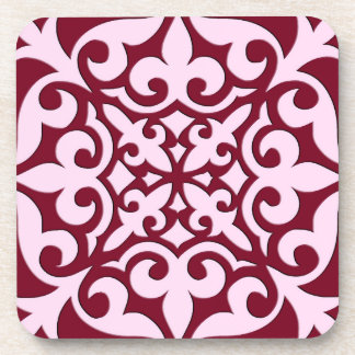 Moroccan tile - burgundy and pink coaster