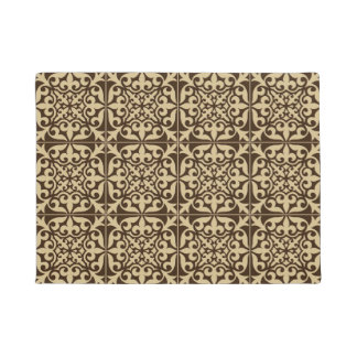 Moroccan tile - chocolate brown and beige doormat