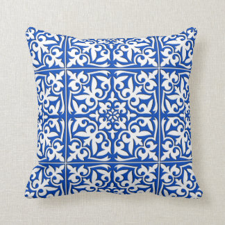 Moroccan tile - cobalt blue and white cushion
