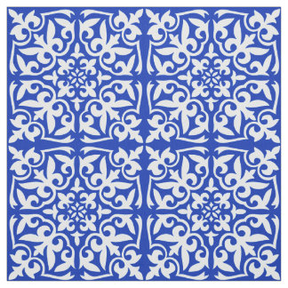 Moroccan tile - cobalt blue and white fabric