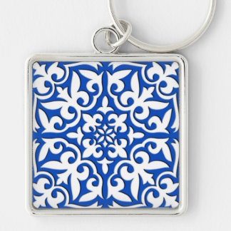 Moroccan tile - cobalt blue and white key chains