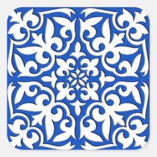 Moroccan tile - cobalt blue and white square sticker