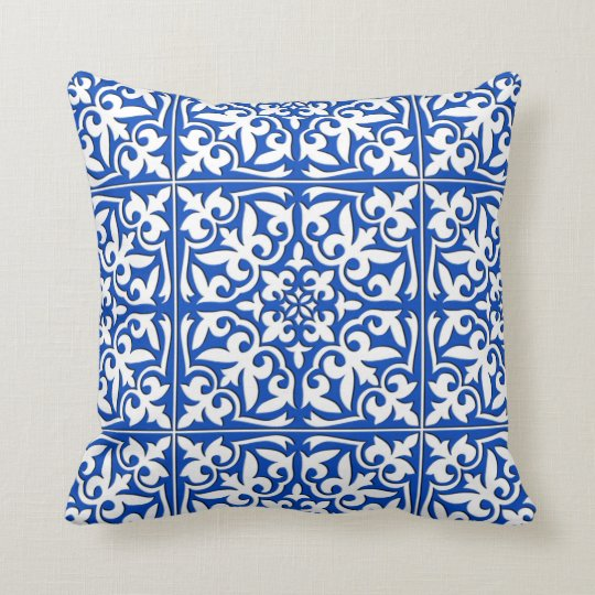 Moroccan tile - cobalt blue and white throw