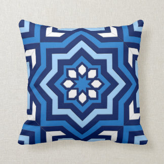 Moroccan Tile, Cobalt, Navy and Light Blue Cushion