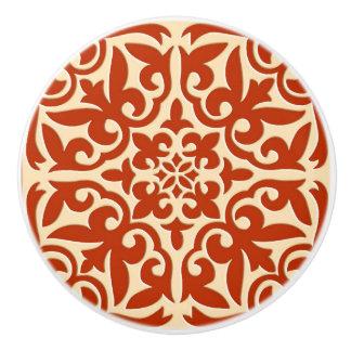 Moroccan tile - coral orange and peach ceramic knob