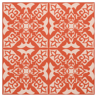 Moroccan tile - coral orange and peach fabric