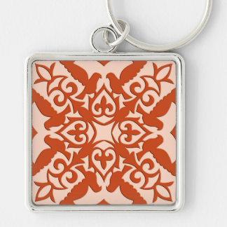 Moroccan tile - coral orange and peach key chain