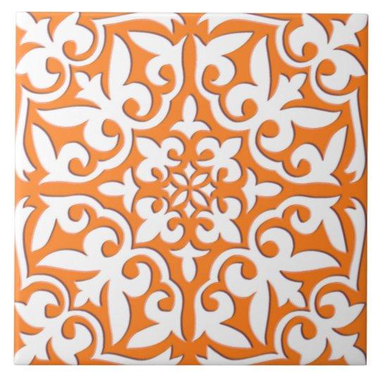 Moroccan tile - coral orange and white