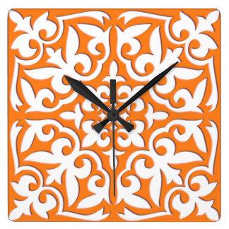 Moroccan tile - coral orange and white clocks