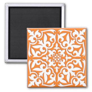 Moroccan tile - coral orange and white square magnet