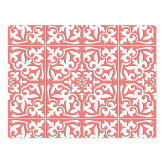 Moroccan tile - coral pink and white postcard