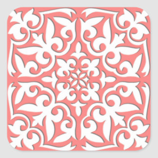 Moroccan tile - coral pink and white square sticker