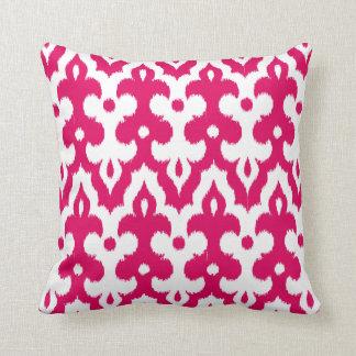 Moroccan Tile Damask Pattern, Fuchsia Pink & White Throw Pillow