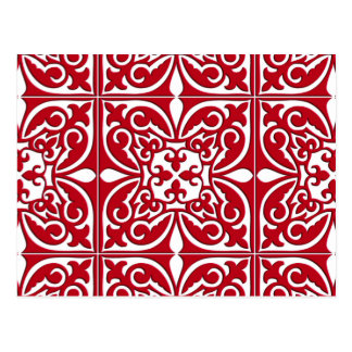 Moroccan tile - dark red and white postcard