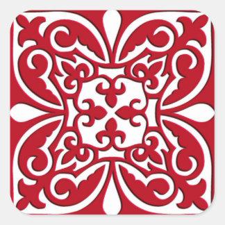Moroccan tile - dark red and white square sticker