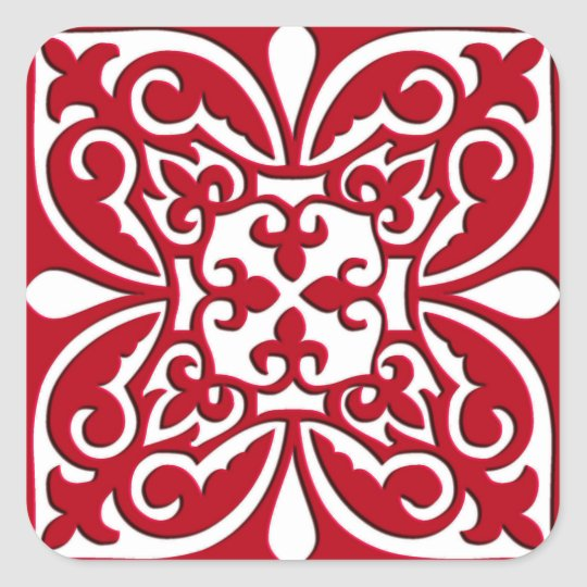 Moroccan tile - dark red and white square