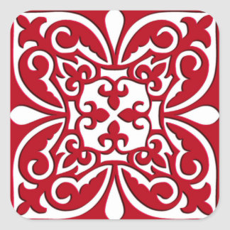 Moroccan tile - dark red and white square stickers
