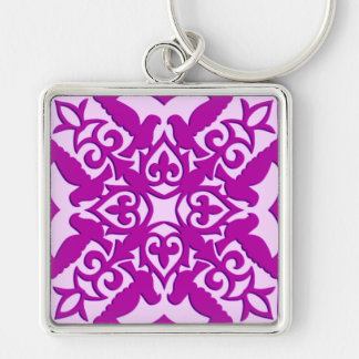 Moroccan tile - deep orchid and pink keychains