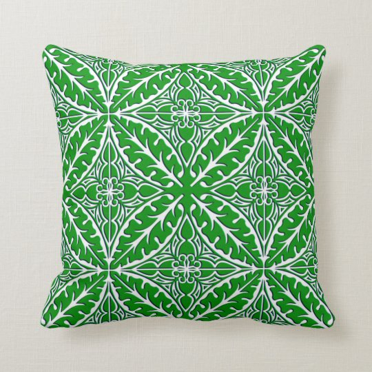 Moroccan tile - emerald green and white throw