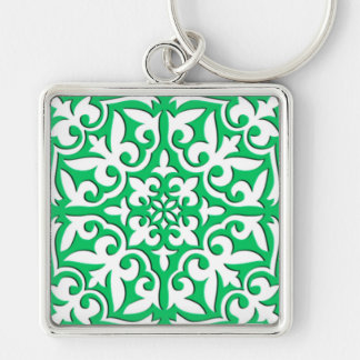 Moroccan tile - jade green and white key chains