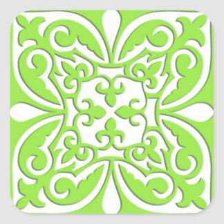 Moroccan tile - lime green and white sticker