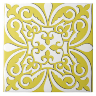 Moroccan tile - mustard yellow and white