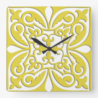 Moroccan tile - mustard yellow and white square wall clock
