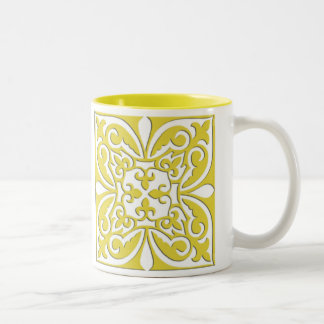 Moroccan tile - mustard yellow and white Two-Tone coffee mug