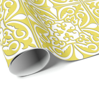 Moroccan tile - mustard yellow and white wrapping paper