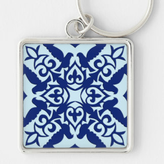 Moroccan tile - navy and light blue key chain