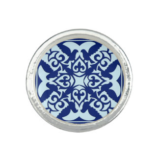 Moroccan tile - navy and light blue ring