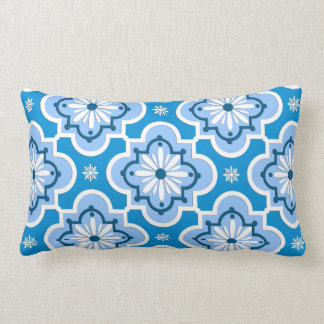 Moroccan tile pattern - Blue and White Lumbar Pillow