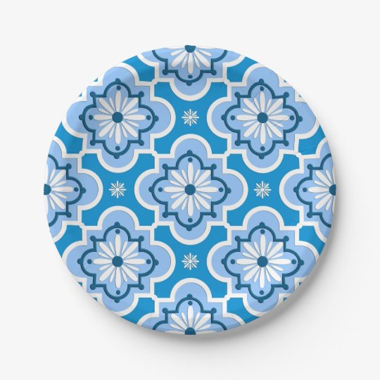 Moroccan tile pattern - Blue and White Paper