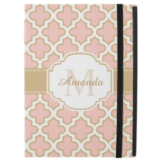 """Moroccan Tile Pattern Classy Pink Coral Monogram iPad Pro 12.9"""" Case"""