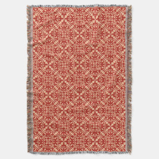 Moroccan Tile Pattern, Coral Orange and Peach Throw Blanket