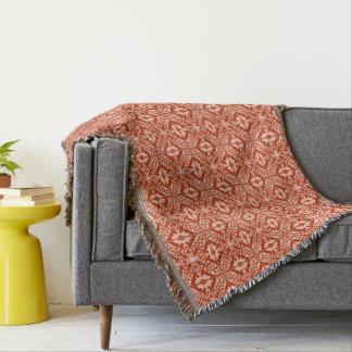 Moroccan Tile Pattern, Coral Orange & Peach Throw Blanket