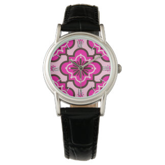 Moroccan Tile Pattern, Fuchsia Pink and Black Wristwatches