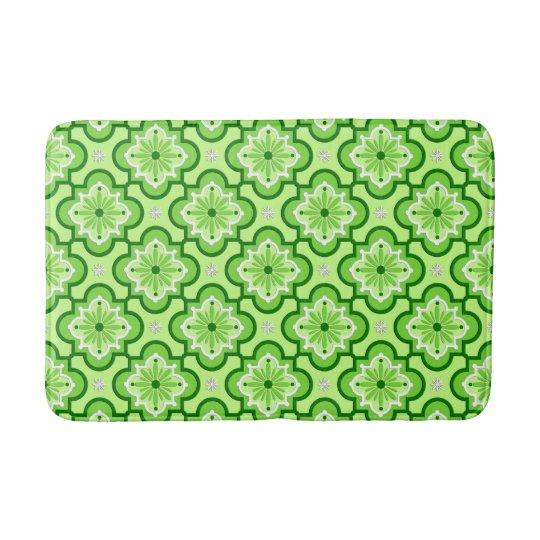 Moroccan tile pattern - Lime Green Bath Mats