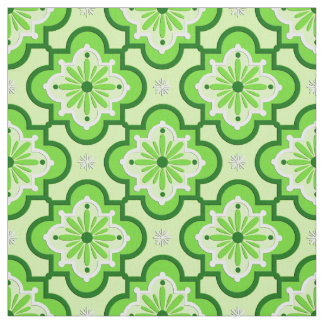 Moroccan tile pattern - Lime Green Fabric