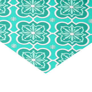 Moroccan tile pattern - Turquoise and Aqua Tissue Paper