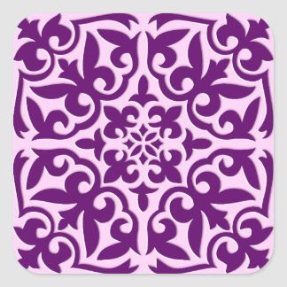 Moroccan tile - purple and orchid square sticker