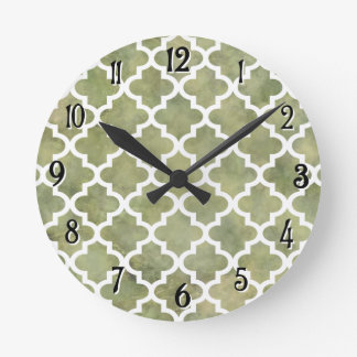 Moroccan Tile Trellis Patterm on Moss Green Marble Round Clock