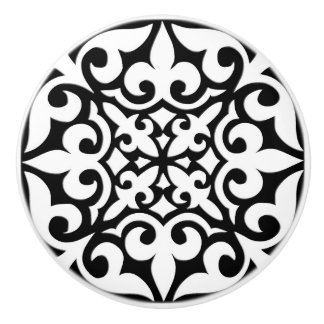 Moroccan tile - white with black background ceramic knob