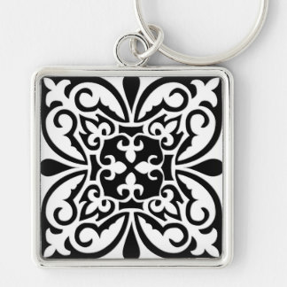 Moroccan tile - white with black background keychains