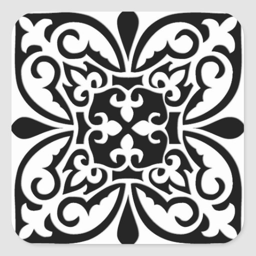 Moroccan tile - white with black background sticker