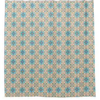 Moroccan Tiles Blue & Taupe bath Shower Curtain