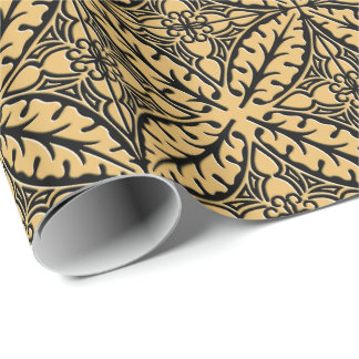 Moroccan tiles - camel tan and black wrapping paper